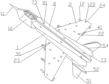 一种拼装玩具喷气式战斗机