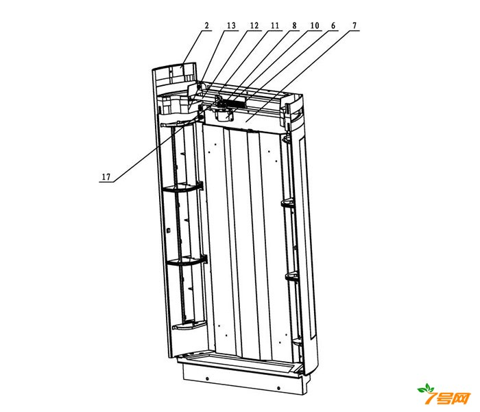 分体落地式空调器室内机的侧出风结构