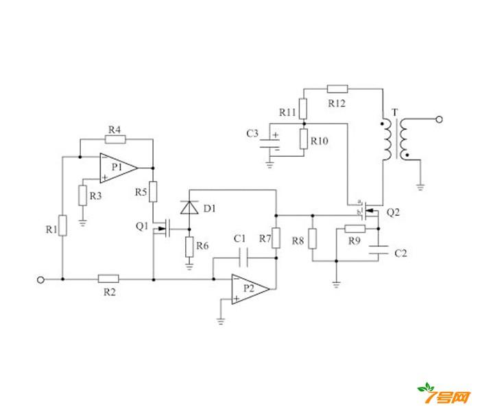 相连接的缓冲电路组成;所述的缓冲电路由变压器t,双栅极场效应管q2,正