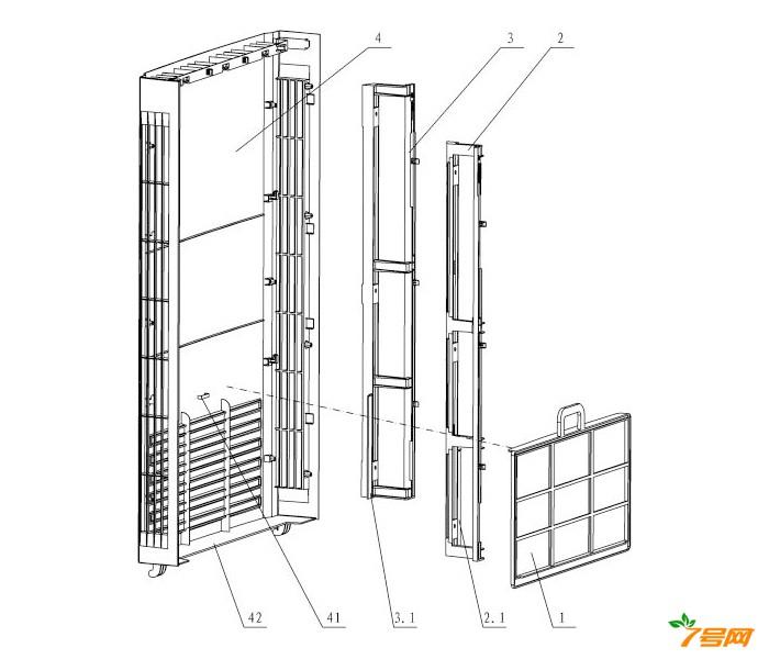 落地式分体空调室内机的过滤网装置